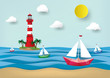 Vector and illustration graphic digital craft style, lighthouse and seascape, Paper sailing boat, Idea for presentation EPS10