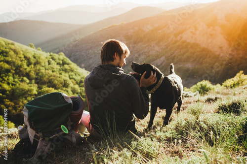 Photo A man and a dog. The concept of the campaign.