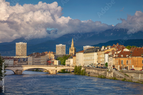 Grenoble. Cityscape image of Grenoble, France during sunset. Canvas