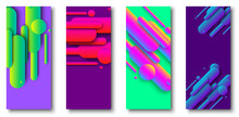 Green And Purple Cards With Abstract Colorful Pattern.