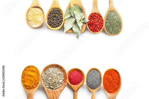 Foto op Canvas Kruiden 2 Wooden spoons with various spices on white background