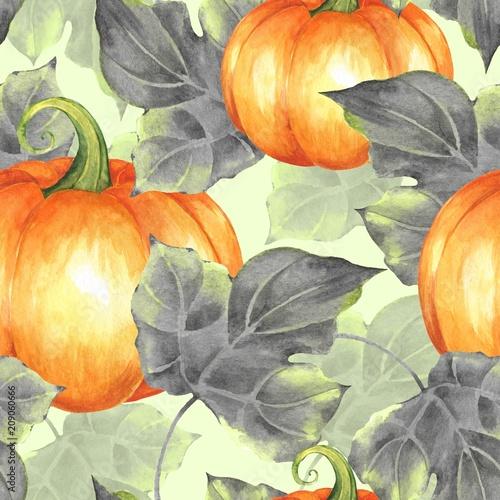 pomaranczowe-dynie-wzor-akwarela-ilustracja-7