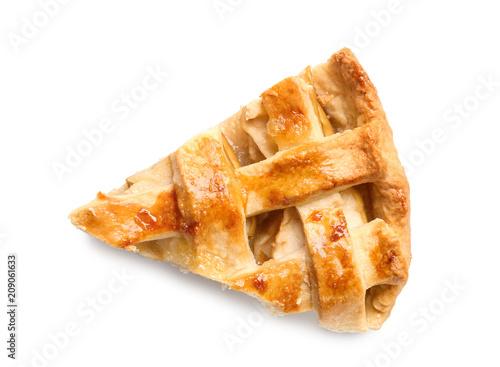 Obraz na płótnie Piece of tasty homemade apple pie on white background