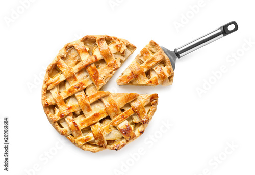 Photo  Tasty homemade apple pie on white background