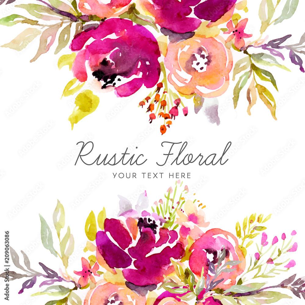 Fototapeta Rustic marsala background with watercolor flowers