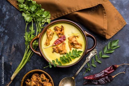 Punjabi Kadhi Pakoda or curry Pakora, Indian cuisine served in a bowl or karahi, Fototapet