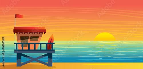 Summer landsape - lifeguard station, sea and sunset. Wallpaper Mural