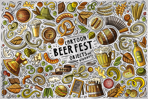 Canvas Print Vector doodle cartoon set of Beer fest objects