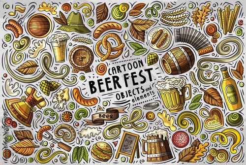 Vector doodle cartoon set of Beer fest objects Wallpaper Mural