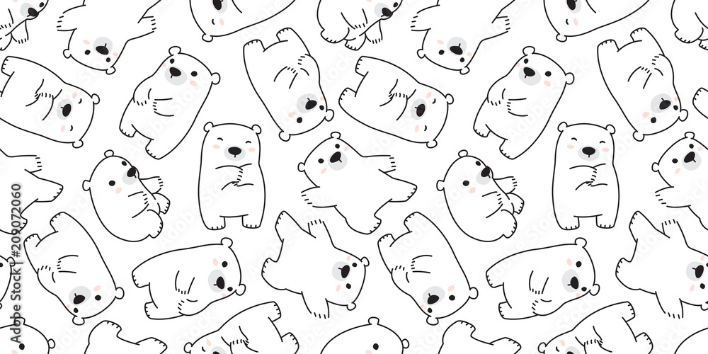 bear seamless pattern polar bear panda vector teddy scarf background wallpaper repeat isolated white