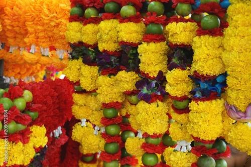 Photo  Colorful flower garlands in Bangkok Thailand