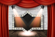 Wooden Stage With Red Curtain And White Brick
