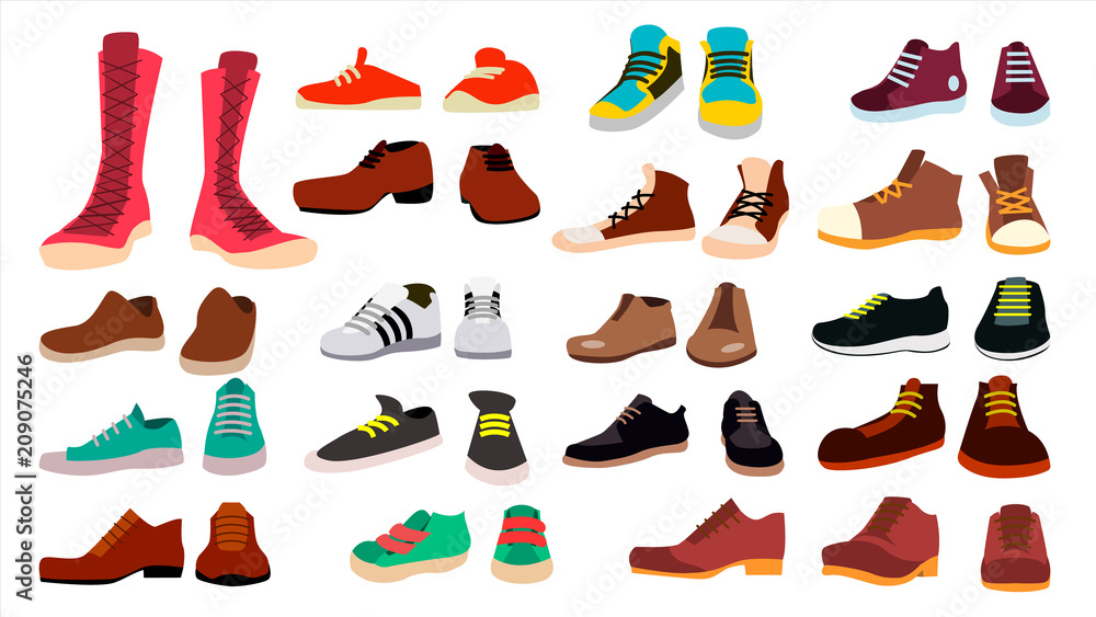 Fototapeta Footwear Set Vector. Fashionable Shoes. Boots. For Man And Woman. Web Icon. Flat Cartoon Isolated Illustration