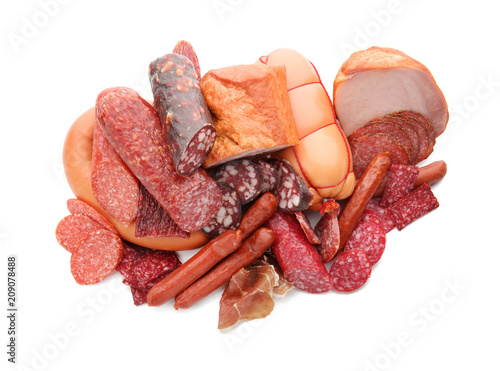 Fotografie, Obraz  Assortment of delicious deli meats on white background