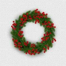 Christmas Wreath Of Realistic ...
