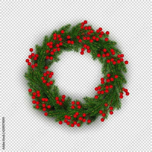 Carta da parati Christmas wreath of realistic Christmas tree branches and holly berries