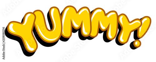Fototapeta Yummy word comic book pop art vector illustration obraz