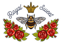 Bee Crown Flowers Embroidery P...