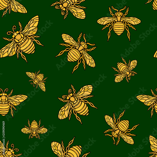 Cotton fabric Hohey bee golden embroidery seamless pattern textile fabrics ornamented golden wings insect Hand drawn vector honey bee luxury embroidered style