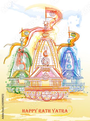 Fotografie, Obraz  Ratha Yatra of Lord Jagannath, Balabhadra and Subhadra on Chariot
