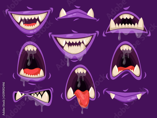 Vampire mouth with scary emotions. Monster jaw Canvas-taulu