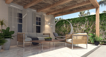 Home garden exterior and patio 3D Rendering