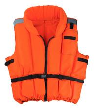 Life Jacket Isolated On White Background. Compulsory Life-saving Device On A Boat
