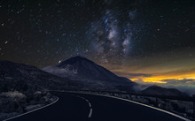 Night Mountain Road .Night Sky With Milky Way And Stars.