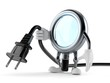 Magnifying glass character holding electric cable