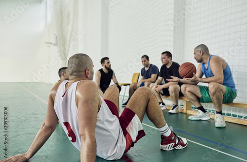 Basketball players during break