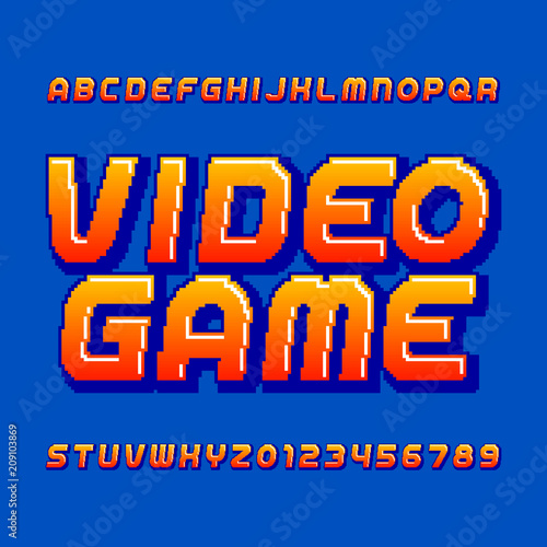 Foto Retro computer game alphabet font