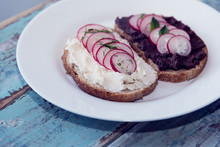 Sandwiches With Cream Cheese, Olives, Radishes And Spices