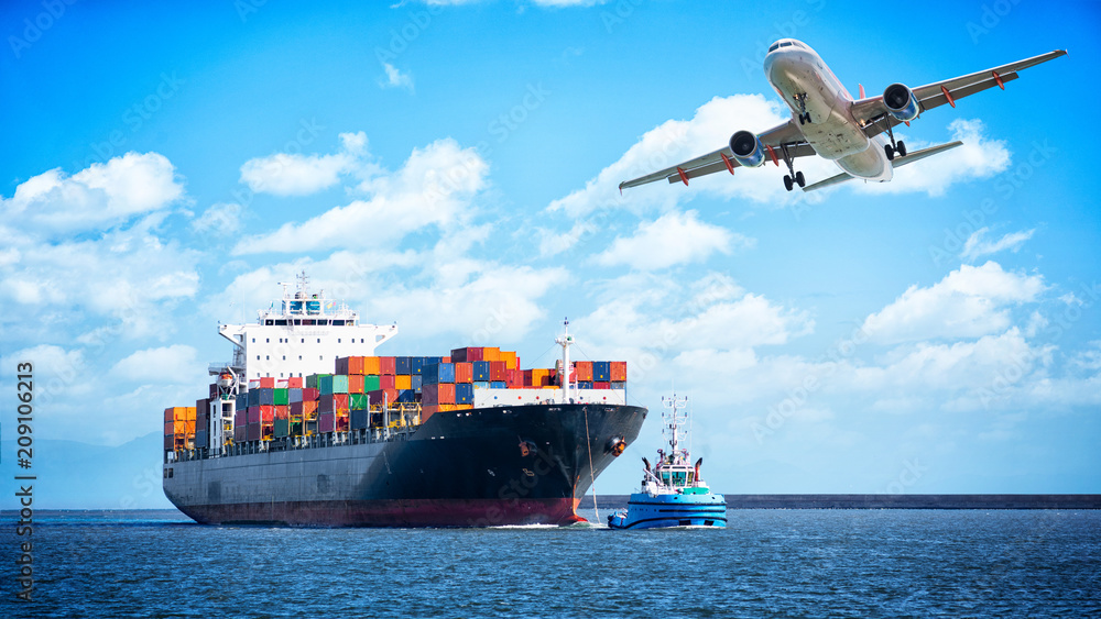 Fototapety, obrazy: Container cargo freight ships and cargo plane for logistic Import export background