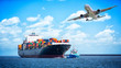 canvas print picture - Container cargo freight ships and cargo plane for logistic Import export background