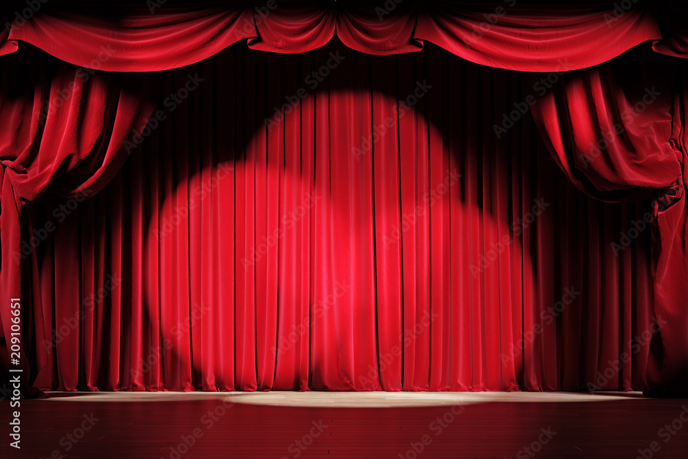 Fototapeta Theater stage with red velvet curtains with spotlights