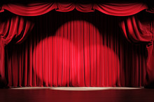 Theater Stage With Red Velvet ...