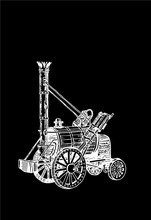 Graphical Locomotive Isolated On Black Background ,vector Sketch