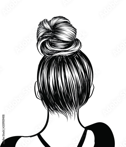 Fototapeta Woman with stylish classic bun with perfet eyebrow shaped and ful. Illustration of business hairstyle with natural long hair. Hand-drawn idea for gretting card, poster, flyers, web, print for t-shirt. obraz