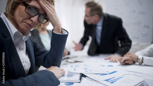 Female trying to abstract from screaming boss, occupational burnout, overworked Canvas