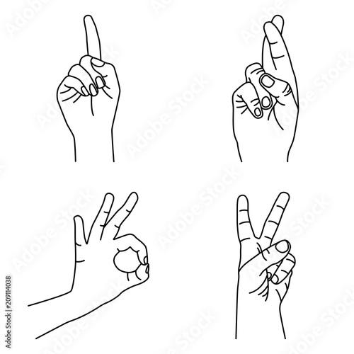 Valokuva  Hand signs set. Vector illustration.