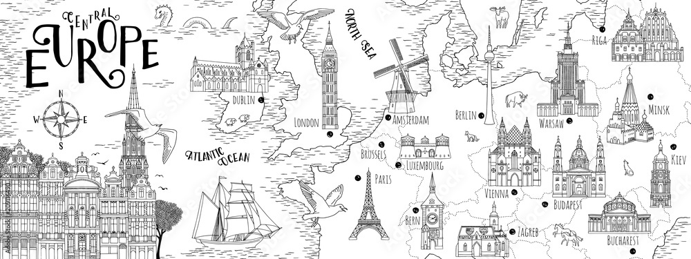 Fototapety, obrazy: Hand drawn map of Central Europe with selected capitals and landmarks, vintage web banner