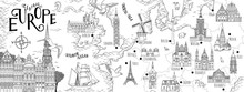 Hand Drawn Map Of Central Europe With Selected Capitals And Landmarks, Vintage Web Banner