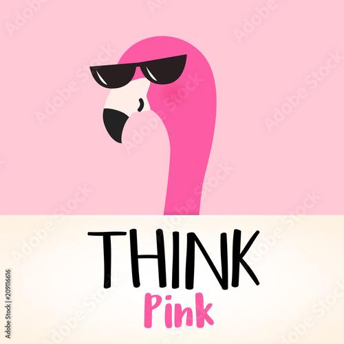 ladny-rozowy-kreskowka-flamingo-pomysl-o-rozowym-cytacie-projekt-wektor