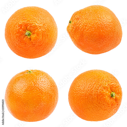 Juicy orange isolated on white background with clipping path Wall mural