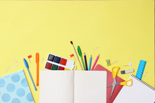 Set Of Stationery On A Colored...
