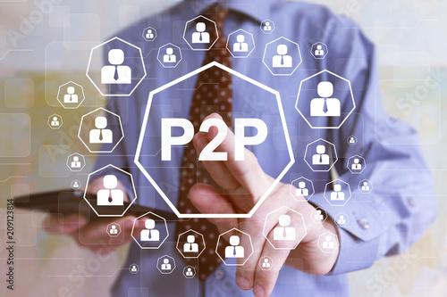 Businessman presses button p2p Peer-to-peer on virtual screen web Canvas Print