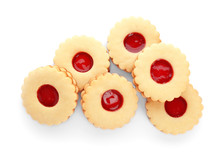 Traditional Christmas Linzer Cookies With Sweet Jam On White Background