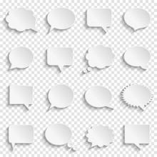 Blank Empty White Speech Bubbles On Transparent Background