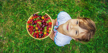 Different Homemade Summer Berries In The Hands Of A Child. Selective Focus.