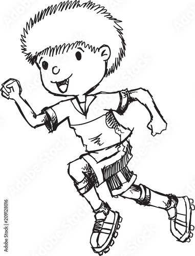 Poster Cartoon draw Hand Drawn Sketch Boy Running Vector Illustration Art